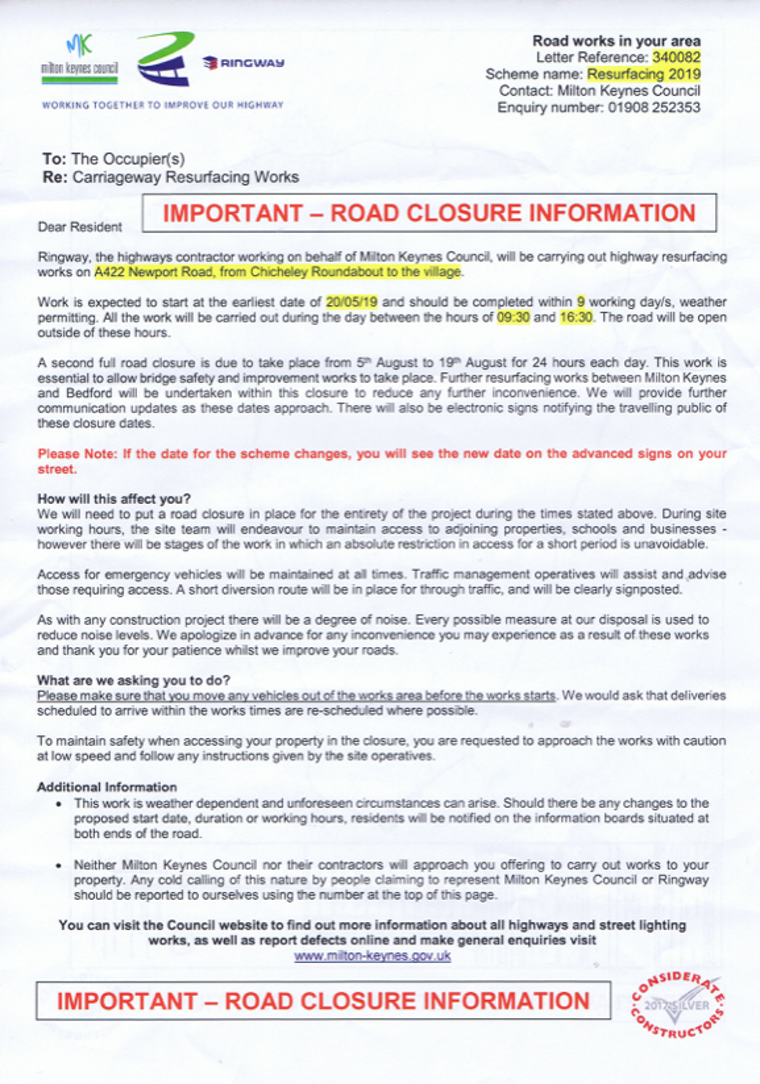 2019-05-05 - A422 closure through Chicheley